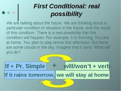 Conditionals - learn English,grammar,tenses,conditional English Grammar Tenses, Learn English Grammar, English Verbs, English Sentences, Grammar And Vocabulary, English Language Learning, English Writing, English Study, English Vocabulary