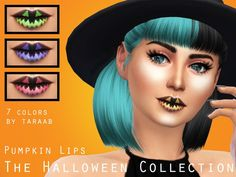 The Sims Resource: The Halloween Collection - Pumpkin Lips by taraab • Sims 4 Downloads