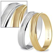 Alianzas de boda Argyor. Otra composición de los modelos 5B40501 y 5140501, donde puede apreciarse mejor el acabado en forma de minúsculos rombos.