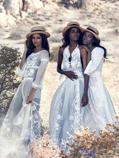 'Light Brigade' ~ Leila Nda, Aya Jones, Imaan Hammam, Malaika Firth, Tami Williams & Kai Newman by Peter Lindbergh for US Vogue, March 2015