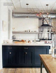 "#Kitchen Dark ""island"", lighter floor and lighter woods. Interesting open shelf."