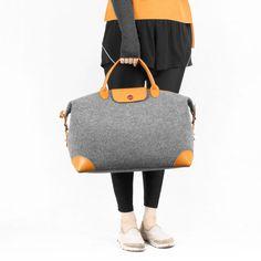 Shoulder Bag Travelling Bag Wool Felt Storage Bag Weekend Bag Leather Hand Bag Wool Felt Tote School Leather Bag