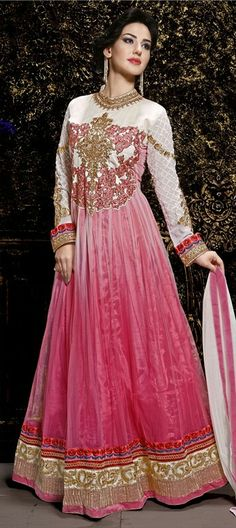 9e056cab342 Heavenly White And Pink Shaded Embroidery Work Anarkali Suit. Buy Designer  Anarkali Suit In Canada.