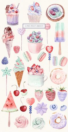Do you like an ice-cream and sweets?:) You'll find a lot of desserts in this watercolor set! I hope my illustrations will be useful for your amazing design Journal Stickers, Planner Stickers, Printable Stickers, Cute Stickers, Sweets Clipart, Cafe Posters, Movie Posters, Watercolor Cake, Watercolor Stickers