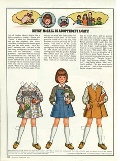Vintage February 1977 Magazine Paper Doll Betsy McCall is Adopted by a Cat