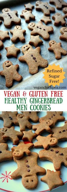 These adorable Gingerbread Men Cookies are the perfect festive holiday treat! Made with buckwheat and oat flours, these vegan and gluten free goodies are sweetened with coconut sugar, resulting in a refined sugar free Christmas cookie that you can feel good about munching on at any time of day. Cookies for breakfast, anyone? #gingerbread #vegan #glutenfree #christmascookies