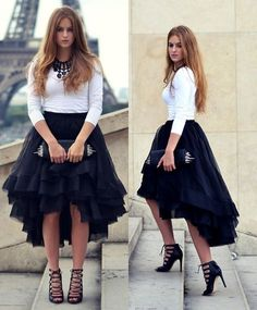 2015 New Fashion Summer Casual High Low Tiered Woman Tulle Satin Skirt Solid Natural Color Girl Gown Tutu Skirt Women Short Skirts For From Cc_bridal, $50.27   Dhgate.Com