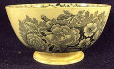 Antique porcelain transferware bowl black floral pattern
