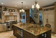 Kitchen, Wicker Kitchen Chairs With Golden Lapidus Granite And Traditional Pendant Lights For Kitchen Decorating