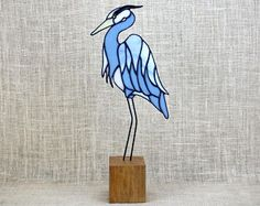 Stained Glass Blue Heron Bird Panel on Cherry Base, Glass Art, Shorebirds, Beach Decor, Wildlife Art, Bird Lovers Gift