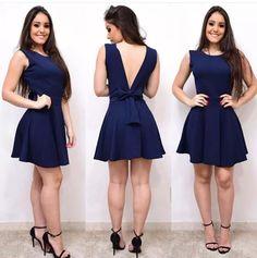 vestido curto festa Tight Dresses, Blue Dresses, Short Dresses, Formal Dresses, Casual Work Attire, Marine Uniform, Girl Fashion, Fashion Outfits, Popular Outfits