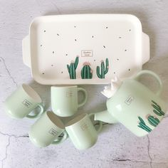 Cactus tea pot set