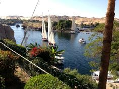 Enjoying the scenery on the Nile as seen from The Old Cataract in Aswan, Egypt