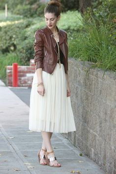 Chiffon midi skirt with leather jacket
