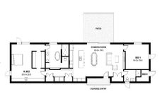 This modern design floor plan is 1974 sq ft and has 2 bedrooms and has 2 bathrooms. Narrow House Plans, Small House Plans, House Floor Plans, Barn Apartment, Apartment Plans, Villas, Woodworking Bench Plans, Woodworking Tools, Long House