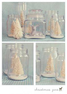 17 Unique Christmas mason jar ideas! Love the winter wonderland in a jar ones! @Tina Abney I have mason jars and this would be cute on each table!