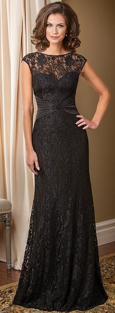Black mother of the groom dresses. Small cap sleeve formal dresses for the mothers of the wedding.  See other #motherofthebridedresses for the special occasion at http://www.dariuscordell.com/featured_item/custom-made-mother-of-the-bride-evening-dresses/                                                                                                                                                      More