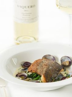 Vaquero Californian chardonnay with sea bass and clams