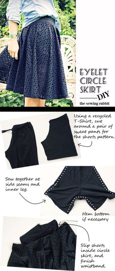 fa6e2d5b2f7 How to Sew an Eyelet Circle Skirt with Built In Leggings Diy Clothes