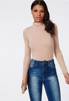 Long Sleeve Turtle Neck Bodysuit Nude - Tops - Long Sleeve Tops - Missguided