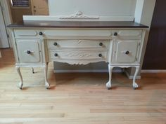 Antique sideboard refinished in old ochre and java gel stain.  www.facebook.com/olcountrychic