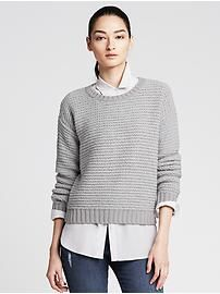 Heritage Ribbed Crew Cropped Pullover