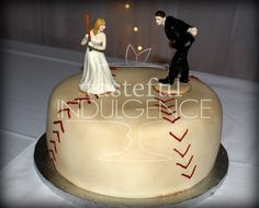 Antiqued baseball cake with bride and groom.  Created as a groom's cake.   #caketodiefor  Seward, Nebraska