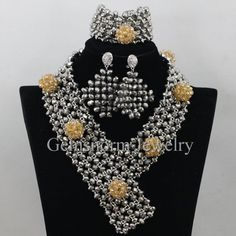 Silver African Chunky Jewelry Set for Wedding Party Vintage Party Women Costume Jewelry Accessories