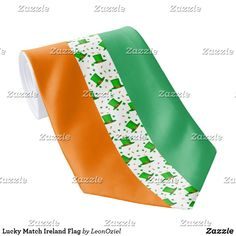 Shop Lucky Match Ireland Flag Neck Tie created by LeonOziel. Custom Ties, Unique Image, Floral Tie, Colorful Backgrounds, Night Out, Ireland, Irish, Flag, Pattern