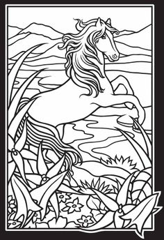 Dover Stained Glass Coloring Pages | Wild Horses Stained Glass Coloring Book