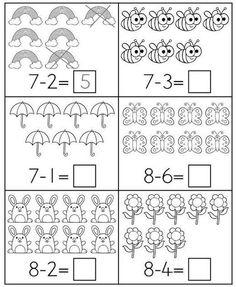 Spring Math Centers for Kindergarten B&W Math Literacy, Preschool Learning, Teaching Math, Math Activities, Kindergarten Addition Worksheets, First Grade Math Worksheets, Kindergarten Worksheets, Math Subtraction, Niklas