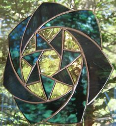 Blue Twilight Star Round Panel Stained Glass Suncatcher