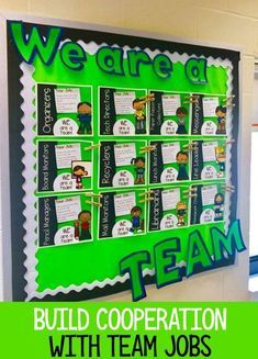 Teamwork Bulletin Boards, Team Bulletin Board, Classroom Jobs Board, Classroom Jobs Display, Classroom Job Chart, Sports Theme Classroom, Classroom Management Plan, Classroom Organization, Sports Bulletin Boards