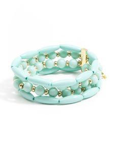 Glossy Pastel Beaded Bracelet - Mint