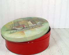 Vintage Horse & Carriage Design on Red Metal Large Canister - Ornate Covered Olive Can Chicago Tin - Art Deco Candy Box $12.00 by DivineOrders