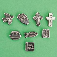 Metallic Christian Symbol Beads - Bead size is 13-20mm wide with a 3mm hole. Approximately 200 per pack. Assorted beads feature meaningful Christian symbols including the Holy Bible, 2 crosses, the Ten Commandments, fish, angel, Noah's Ark and dove. Printed on both sides.