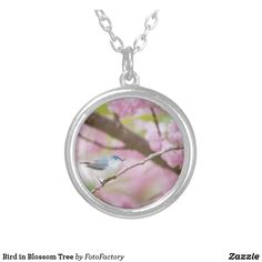 Bird in Blossom Tree Silver Plated Necklace
