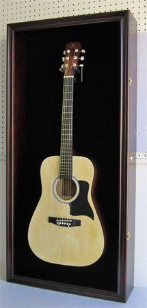 Large Display Case Acoustic and Electric Guitars, Wall mounted Cabinet, UV Protection Lockable Door, Instruments