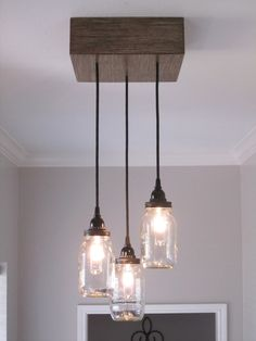 Mason Jar Chandelier- Square, Ceiling light, Rustic Lighting, Custom Light, Industrial lighting, Mason Jar light by OutoftheWdworkDesign on Etsy https://www.etsy.com/listing/231214620/mason-jar-chandelier-square-ceiling