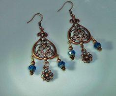 Copper Bohemien Earrings Chandelier Earrings by JewelrybyJacobe