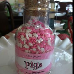 """Pink and white pig sprinkles! This Little Piggy, Little Pigs, Halloween Yard Art, Pig Kitchen, Pig Birthday Cakes, Pig Pen, Piggly Wiggly, Mini Pigs, Cute Piggies"
