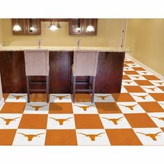 Longhorn carpet squares. Perfect for a basement.