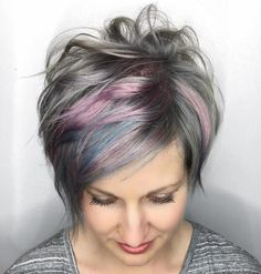 Gray Long Pixie With Pink Highlights