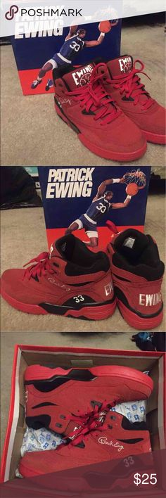 Patrick Ewings Sneakers Size 10.5 in Men. All red Patrick Ewings. Only wore them twice. Still great condition. No flaws. Shoes Sneakers