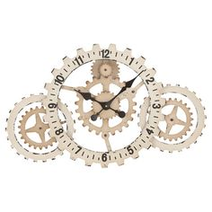 Industrial-inspired iron wall clock with a gears silhouette.   Product: Wall clockConstruction Material: Iron