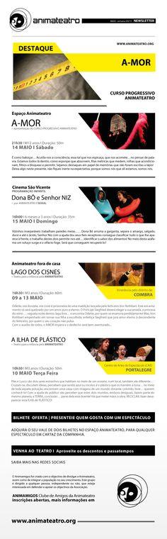 Um fim de semana pleno de ANIMATEATRO: a apresentação da performance do Curso de Teatro Progressivo A-MOR, no Espaço Animateatro, e no Auditório Cinema São Vicente D. BÔ E SR. NIZ, para bebés e suas famílias, já estamos à vossa espera!