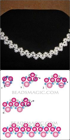 White beads nd pearls necklace Best Seed Bead Jewelry 2017 Free pattern for beaded necklace Galaxy Necklace picture and instructions beaded Wanna this glass and pearl bea Image detail for -Beading Clas Bead Crafts, Jewelry Crafts, Handmade Jewelry, Jewelry Bracelets, Jewelry Ideas, Bead Jewellery, Seed Bead Jewelry, Motifs Perler, Beaded Necklace Patterns