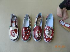 Boomer Sooner guys I am licensed to do OU sanuks these are $120 plus pay pal and shipping fees. Any designs you want email me your order jenniferboone1981@yahoo.com
