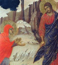 Christ Appearing to Mary Magdalene (Fragment) by Duccio di Buoninsegna Madonna, Duccio Di Buoninsegna, Maria Magdalena, Noli Me Tangere, Renaissance Artists, Religious Paintings, Jesus Resurrection, John The Baptist, Art Database
