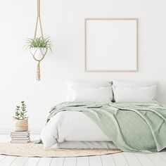 Poster mockup with wooden square frame on empty white wall in bedroom interior with bed, green plaid, rug and plants. Pale Green Bedrooms, Green And White Bedroom, Green Rooms, White Walls, Sage Bedroom, Gold Bedroom, Bedroom Wall, Bedroom Decor, Master Bedroom